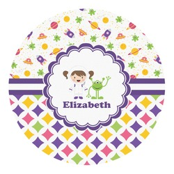 Girl's Space & Geometric Print Round Decal - Medium (Personalized)