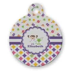 Girl's Space & Geometric Print Round Pet Tag (Personalized)
