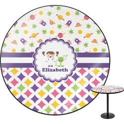 "Girl's Space & Geometric Print Round Table - 30"" (Personalized)"