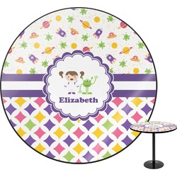 Girl's Space & Geometric Print Round Table (Personalized)