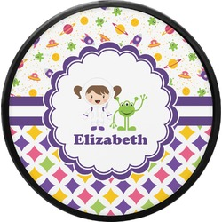 Girl's Space & Geometric Print Round Trailer Hitch Cover (Personalized)
