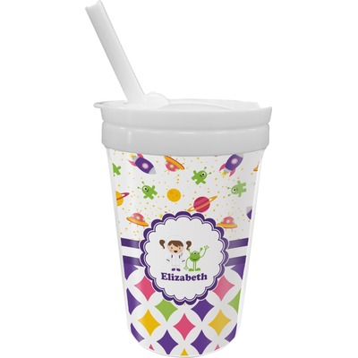 Girl's Space & Geometric Print Sippy Cup with Straw (Personalized)