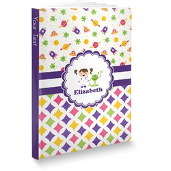"""Girl's Space & Geometric Print Softbound Notebook - 7.25"""" x 10"""" (Personalized)"""