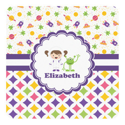 Girl's Space & Geometric Print Square Decal - Medium (Personalized)