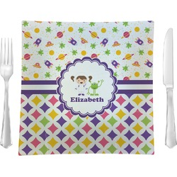 """Girl's Space & Geometric Print 9.5"""" Glass Square Lunch / Dinner Plate- Single or Set of 4 (Personalized)"""