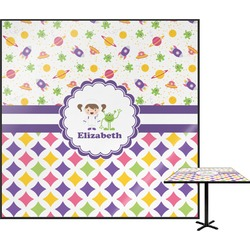 Girl's Space & Geometric Print Square Table Top (Personalized)