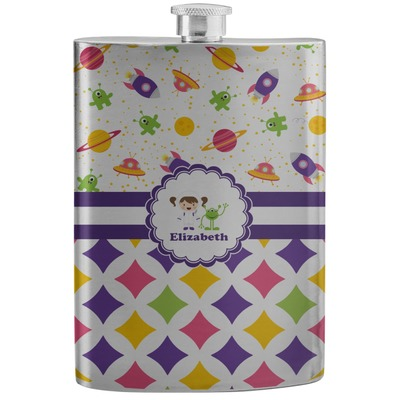 Girl's Space & Geometric Print Stainless Steel Flask (Personalized)