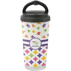 Girl's Space & Geometric Print Stainless Steel Travel Mug (Personalized)