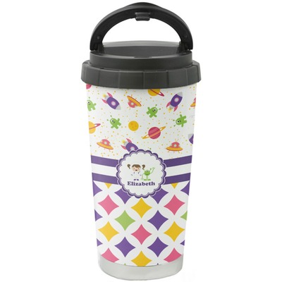 Girl's Space & Geometric Print Stainless Steel Coffee Tumbler (Personalized)