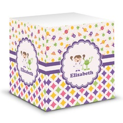 Girl's Space & Geometric Print Sticky Note Cube (Personalized)