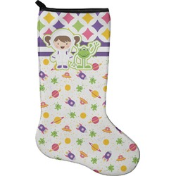 Girl's Space & Geometric Print Christmas Stocking - Neoprene (Personalized)