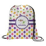 Girl's Space & Geometric Print Drawstring Backpack (Personalized)
