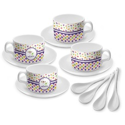 Girl's Space & Geometric Print Tea Cup - Set of 4 (Personalized)