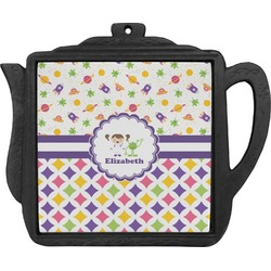 Girl's Space & Geometric Print Teapot Trivet (Personalized)