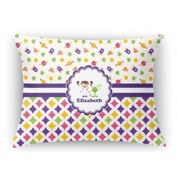Girl's Space & Geometric Print Rectangular Throw Pillow Case (Personalized)