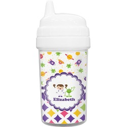 Girl's Space & Geometric Print Toddler Sippy Cup (Personalized)