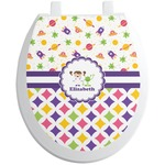 Girl's Space & Geometric Print Toilet Seat Decal (Personalized)