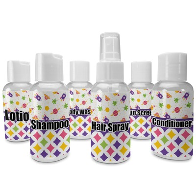 Girl's Space & Geometric Print Travel Bottles (Personalized)