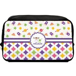 Girl's Space & Geometric Print Toiletry Bag / Dopp Kit (Personalized)