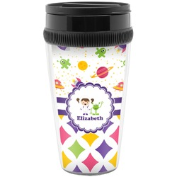 Girl's Space & Geometric Print Travel Mug (Personalized)