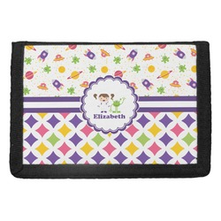 Girl's Space & Geometric Print Trifold Wallet (Personalized)