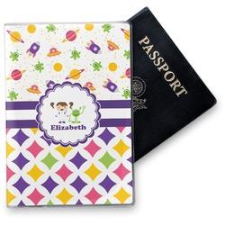 Girl's Space & Geometric Print Vinyl Passport Holder (Personalized)