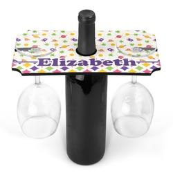 Girl's Space & Geometric Print Wine Bottle & Glass Holder (Personalized)