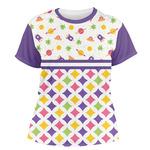 Girl's Space & Geometric Print Women's Crew T-Shirt (Personalized)