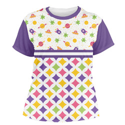 Girl's Space & Geometric Print Women's Crew T-Shirt (Personalized)