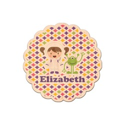 Girl's Space & Geometric Print Genuine Maple or Cherry Wood Sticker (Personalized)