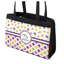 Girl's Space & Geometric Print Zippered Everyday Tote (Personalized)