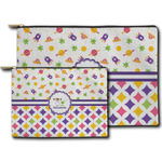 Girl's Space & Geometric Print Zipper Pouch (Personalized)