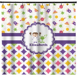 Girl's Space & Geometric Print Shower Curtain (Personalized)