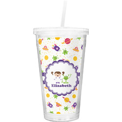 Girls Space Themed Double Wall Tumbler with Straw (Personalized)