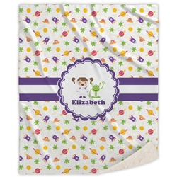 Girls Space Themed Sherpa Throw Blanket (Personalized)