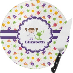 Girls Space Themed Round Glass Cutting Board - Small (Personalized)