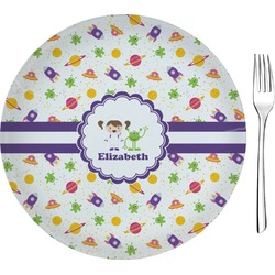"Girls Space Themed 8"" Glass Appetizer / Dessert Plates - Single or Set (Personalized)"