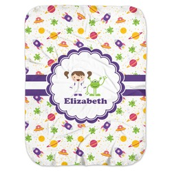 Girls Space Themed Baby Swaddling Blanket (Personalized)