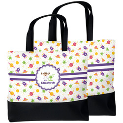 Girls Space Themed Beach Tote Bag (Personalized)