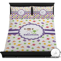 Girls Space Themed Duvet Cover Set (Personalized)
