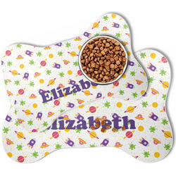 Girls Space Themed Bone Shaped Dog Food Mat (Personalized)