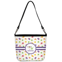Girls Space Themed Bucket Bag w/ Genuine Leather Trim (Personalized)