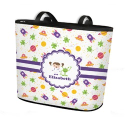 Girls Space Themed Bucket Tote w/ Genuine Leather Trim (Personalized)