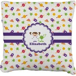 Girls Space Themed Faux-Linen Throw Pillow (Personalized)