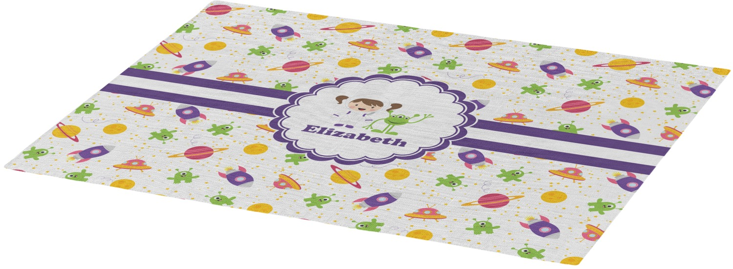 Girls space themed placemat fabric personalized for Space themed fabric
