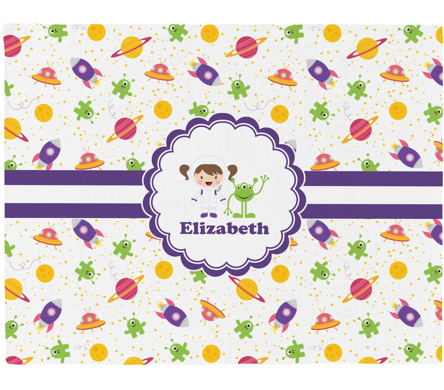 Girls space themed placemat fabric personalized for Space inspired fabric