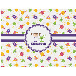 Girls Space Themed Woven Fabric Placemat - Twill w/ Name or Text