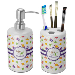 Girls Space Themed Bathroom Accessories Set (Ceramic) (Personalized)