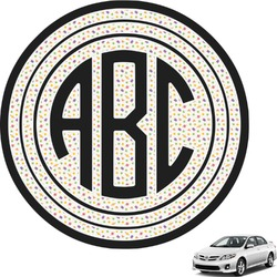 Girls Space Themed Circle Monogram Car Decal (Personalized)