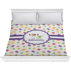 Girls Space Themed Comforter - King (Personalized)